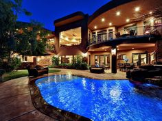 Amazing Courtyard Designed With Brown Wicker Sofa Set Faced Artistic Pool Plus Waterfall Appliance Natural Exterior with Courtyard Design Architecture Exterior Furniture Little Shanty. Future House, Best Home Interior Design, Luxury Interior, Luxury Homes Dream Houses, Dream Homes, Life Design, House Design, Luxury Home Decor, Pool Designs