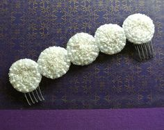 Beautiful hair comb with glass beads