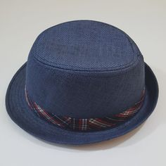 D&Y blue with checks band fedora hat | Clothing, Shoes & Accessories, Men's Accessories, Hats | eBay!