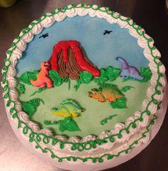 Dinosaur DQ ice cream cake with sugar decons