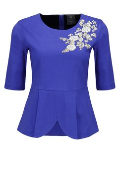 Blue dabka embroidered peplum top available only at Pernia's Pop-Up Shop.