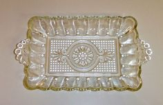 1326~Vintage 1950's Clear Scalloped Edge Pressed Glass Relish Tray**