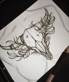 Chest piece sketch ready for this week Billy Marsh. Chest piece sketch ready for this week Billy Marsh. A imagem pode conter: desenho Tattoo Animal Skull Horns New Ideas- - Rojo. Skull Tattoos, Animal Tattoos, Body Art Tattoos, Drawing Tattoos, Tatoos, Art Drawings, Chest Piece Tattoos, Pieces Tattoo, Chest Tattoo Flash