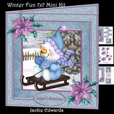 Winter Fun 7x7 Mini Kit on Craftsuprint designed by Jackie Edwards - Kit with 7x7 inch card front, decoupage, insert, cut