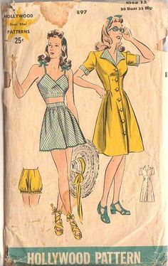 Hollywood 897 from 1942 bra, skirt, romper and dress