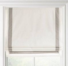 Appliquéd Frame Cotton Canvas Roman Shade - contemporary - curtains - by Restoration Hardware Baby & Child House Blinds, Blinds For Windows, Curtains With Blinds, Bay Windows, Bedroom Windows, Gypsy Curtains, Blinds Diy, Window Blinds, Window Seats
