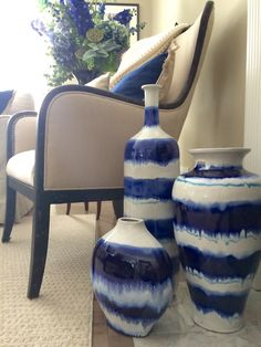 Got the Blues? Get the Indigo Blue Batik look that is trending for 2015 at HomeGoods. This drip glazed pottery trio is a perfect addition to your home decor. Find all three or one alone. Pair with whites, periwinkles, greens, or neutral linen colors to add elegance and color to any room in your home. No flowers needed! (sponsored)