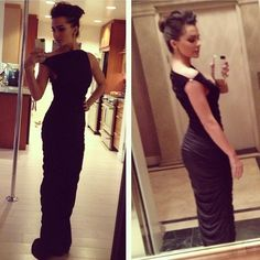golden globes 2013 black long gown Size small. Stretchy material. Can be worn off shoulder or straight ... For more pics just google Jillian Murray golden globes. It's a gorgeous dress but can't wear it twice :) Cache Dresses