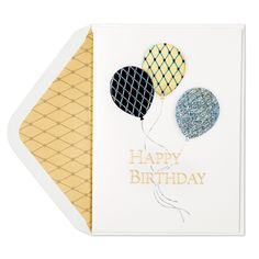 Wish them a Happy Birthday with this card that features shimmery argyle pattern balloons they are sure to love.