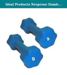 Ideal Products Neoprene Dumbbells Pair - 9 lb. These are Ideal Products' Neoprene Dumbbells. They are simple, effective neoprene coated iron hand weights that provide a soft grip and reduce slip. Perfect for jogging, aerobics, power walking, general exercise and physical therapy, these dumbbells are available at each pound from 1 to 10 lb, and afterward, up to 30 lbs in increasing increments.