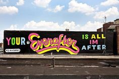"""A selection of creations by American artist Stephen Powers, based in Philadelphia, who combines street art and typography in huge creations very inspired by old advertisements painted on the walls. With his project """"A Love Letter For You"""", Stephen Powers address to the people of his hometown a message of love, spread in over fifty paintings located along a rail commuter line… A wonderful project."""