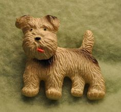 "Vintage ""Terrier"" Figural Bakelite Celluloid Early Plastic Pin Brooch"