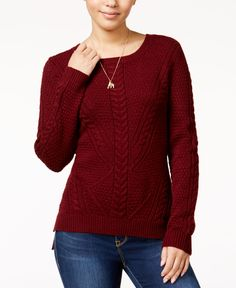 Hippie Rose Juniors' Cable-Front Sweater