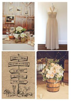 A mix of mercury glass and vintage lead crystal, fairy lights and pretty mixed neutral flowers will give a glamorous edge to a rustic wedding theme.  Dress by: www.lyttonandrose...  Invite by: www.paperwillow.com