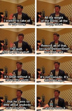 [gifset] Jensen on how he created Demon!Dean and how Demon!Dean ~ticks. #SDCC14