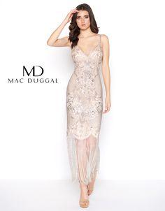Mac Duggal 5012F Slit Skirt Sequin Plus Size Formal Dress