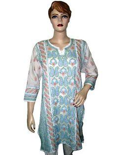 Womens Tunic Kurti Dress- Fashion White Embroidered Cotton Kurti Top Blouse Medium Mogul Interior. $24.99