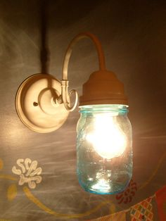 White Sconce Mason Jar Wall Light by AthensRelight on Etsy, $45.00