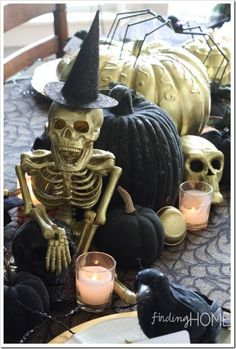 Pro tip:You can easily make a group ofHalloween-themed elements look cohesive and elegant with some gold and black paint.