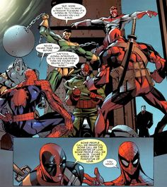 "the Wrecking Crew - ""Some people call me Deadpool. Some call me the gangster of love. Somepeople call me Maurice, 'cause I speak of the pompatus of love. Hq Marvel, Marvel Dc Comics, Marvel Heroes, Deadpool Comics, Deadpool Stuff, Deadpool Funny, Deadpool Movie, Marvel Comic Books, Marvel Funny"