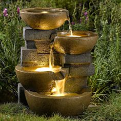 @Overstock.com - Pots LED Lights/ Water Fountain - This artistically designed fountain will make a handsome, interesting addition to any indoor or outdoor setting. The rustic-looking pots fill with water and light up with included LED lights for a romantic feel. http://www.overstock.com/Home-Garden/Pots-LED-Lights-Water-Fountain/6756795/product.html?CID=214117 $164.99