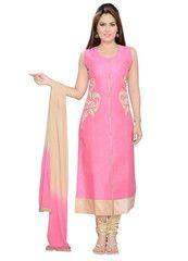 Pink Color Art Silk Ready-made Salwar Suits ( Sizes - 36, 38, 40, 42, 44 ) : Shailja Collection  YF-42331