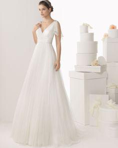 nectáreo Linha A Alças Em V Contas Cauda Escova Tule Vestidos de Noiva