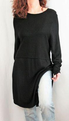 2c2843d351c J Jill Wool Blend L Sleeve Scoop Neck Seam Detailed Tunic Sweater Black Sz L