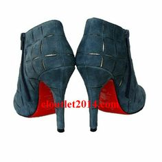 Discount Christian Louboutin Booties Globe 100mm Suede Blue