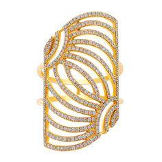 Slanted Rectangular Openwork Yellow Gold Diamond Ring