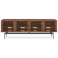 Visually hovering above the steel base, the Coles media cabinet is a geometric piece with staying power. Remotes work through the doors even when they're closed. Accent Furniture, Living Room Furniture, Modern Media Cabinets, Media Storage, Modern Staircase, Wood Cabinets, Home Decor Items, Custom Homes, Family Room