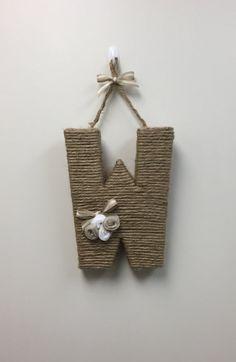 Jute Monogram Wreath With Felt Rosettes.  Twine by MommysMonogram