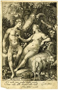 Temptation of Man. Adam and Eve seated naked