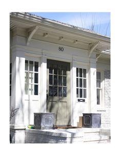 Things That Inspire: Transformations in Brookwood Hills 80 Huntington Road Exterior Doors, Exterior Paint, Exterior Design, Interior And Exterior, Cottage Exterior, Porches, Yard Design, House Design, Front Door Porch