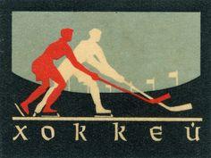 russian matchbox label - hockey