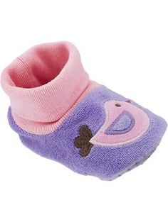 Bird-Graphic Velour Slippers for Baby | Old Navy $6