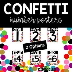 Confetti Number Posters with and without visual representations for each number.