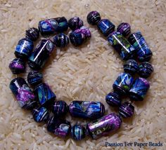 Paper Beads Purple And Blue   by PassionForPaperBeads on Etsy