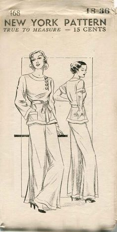 "At home, Lana favors brightly-colored pajamas ""designed to seduce a man by blinding him half to death,"" Andy says. 1930s Lounging Pajamas Pattern New York 468"