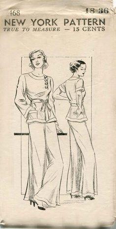 1930s Lounging Pajamas Pattern New York 468