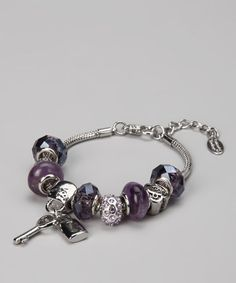 Take a look at this Purple Amethyst Lock & Key Beaded Bracelet by BJG Services on #zulily today!