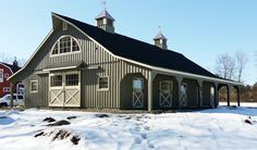 36x60 Modular barn by Horizon Structures.  Includes:  2 - 8' overhangs, full loft, 4 - 12x12 stalls, 12x24 tack room, 12x12 feed room and 12x12 wash stall