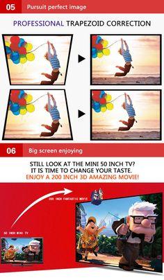 Rigal 808A LCD 1280x800 3200 Lumens 1080P HD LED Projector 3D Home Theater EU Plug