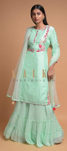 Buy Online from the link below. We ship worldwide (Free Shipping over US$100)  Click Anywhere to Tag Mint Blue Palazzo Suit In Cotton Silk With Embroidered Bird And Floral Pattern Online - Kalki Fashion Mint blue palazzo suit in cotton silk enhanced with sequins, thread and beads embroidered bird and floral pattern.Designed with round neckline, front placket and 3/4th sleeves.
