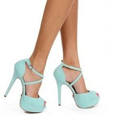 Turquoise Ankle Strap Heels from ILoveCuteShoes.com