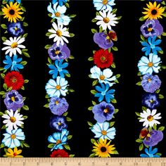 Kanvas Bloom With A View Wall Flowers Black from @fabricdotcom  Designed by Maria Kalinowski for Kanvas in association with Benartex, this fabric is perfect for quilting, apparel and home decor accents. Colors include shades of