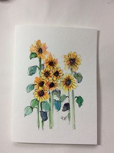 Sunflowers Watercolor Card / Hand Painted Watercolor Card This card is an original watercolor not a print. It would look lovely framed. This card is. Watercolor Artists, Watercolor Print, Watercolor And Ink, Watercolor Paintings, Watercolor Sunflower, Watercolor Flowers, Kunstjournal Inspiration, Arte Sketchbook, Art Design