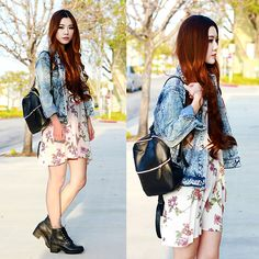 Get this look: http://lb.nu/look/7262010  More looks by Yuzi  Katrina: http://lb.nu/user/2563675-Yuzi-K  Items in this look:  Steve Madden Ankle Boots, Brandy Melville Usa Floral Dress, Forever 21 Denim Jacket, Brandy Melville Usa Backpack   #casual #chic #preppy #ootd