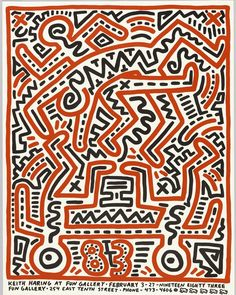 This poster was designed by Keith Haring in anticipation of his debut at New York's Fun Gallery in 1983. As noted by curatorial assistant Andrew Gardner (@gardnerae) on our Object of the Day blog it exemplifies Harings ability to turn two-color line drawings into complex visually cacophonous imagery.  Haring first gained attention in the early 1980s for a series of chalk drawings found in NYC subways. His often politically charged work shows the influence of both the citys burgeoning…