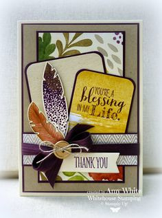 """By Amy White from """"White House Stamping"""", featuring Stampin' Up! stamp sets """"Four Feathers"""", """"Something To Say"""", and """"Blessed By God"""" . Hand Made Greeting Cards, Making Greeting Cards, Card Making Inspiration, Making Ideas, Feather Cards, Wedding Scrapbook, Thanksgiving Cards, Fall Cards, Card Tags"""